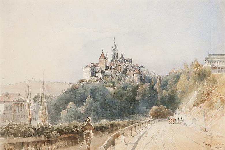 Alt Rudolf von - Pohled na Pražský hrad
